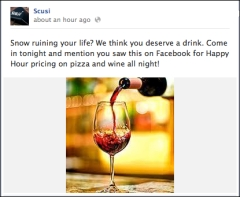 Facebook offer from Scusi Wine Bar