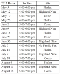 Family golf schedule